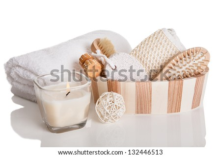 Bath Spa Massage Kit Isolated Over White Background - stock photo