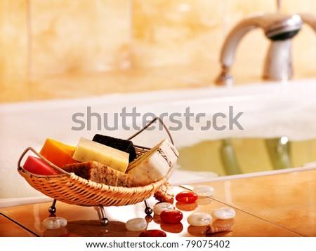 Bath still life with bar of soap in bathroom. - stock photo