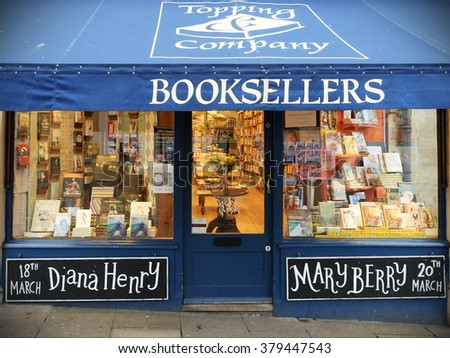 BATH, UK - MAR 11, 2015: Exterior view of an independent book shop on a city centre street. The Somerset city has a thriving independent commercial sector despite inroads by chain stores. - stock photo