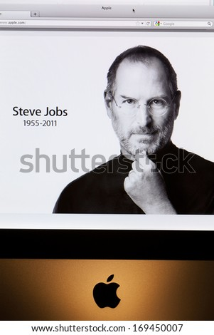 BATH, UK - OCTOBER 06, 2011:  Close-up of an Apple iMac computer displaying the www.apple.com front page tribute to former chief executive Steve Jobs, who died on 5th October 2011 aged 56 - stock photo