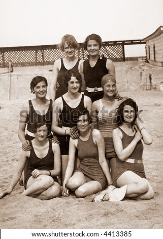 Bathing beauties - circa 1919 vintage photo - stock photo