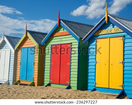 Bathing boxes on Brighton beach - Melbourne - Australia - stock photo