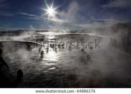 Bathing in hot springs, South-western Bolivia, close to Chilean border - stock photo