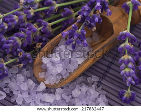 bathing salt with lavender - stock photo