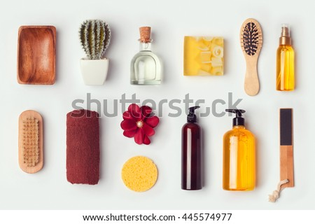 Bathroom and body care mock up template for branding identity design. View from above. Flat lay - stock photo