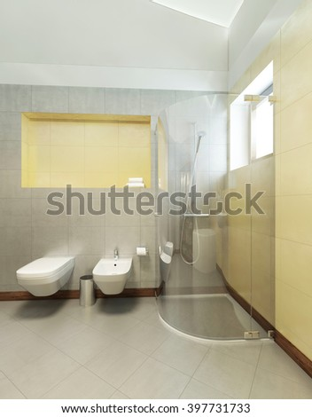 Bathroom in Contemporary style. Bathroom with gray and yellow tiles on the walls of a shower cubicle, wash basin, toilet and bidet. 3D render. - stock photo