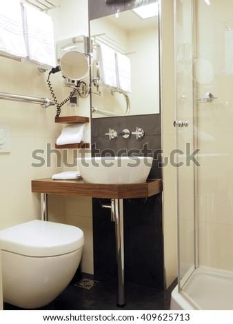 bathroom in five star hotel Riga Latvia Europe - stock photo