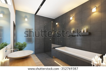 Bathroom in Grey and Blue Colors 3d Rendering - stock photo