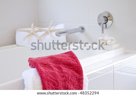 bathroom in modern townhouse - stock photo