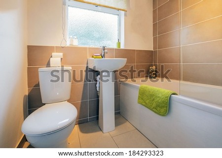 bathroom in newly redecorated house - stock photo