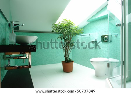 bathroom in the attic - stock photo
