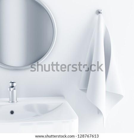 bathroom interior in light colors with a sink and mirror and towel - stock photo