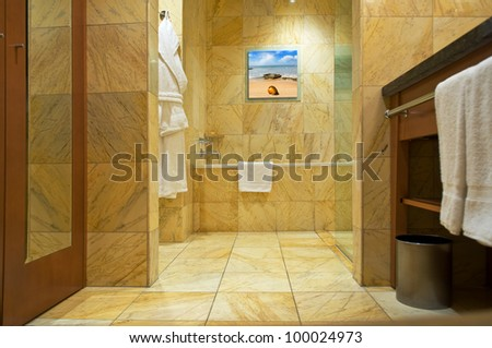 bathroom interior. picture on the wall - also my photo - stock photo