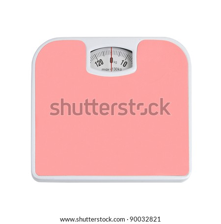 bathroom scale and isolated on white - stock photo