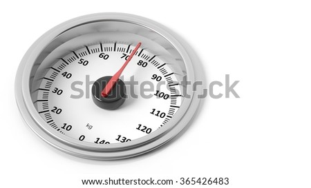 Bathroom scale dial in kilograms, isolated on white background. - stock photo