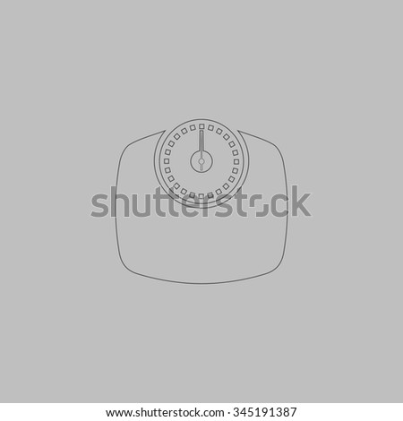 Bathroom scale. Flat outline icon on grey background - stock photo