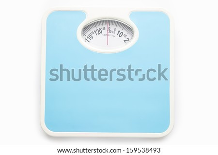Bathroom scale isolate over white square background - stock photo