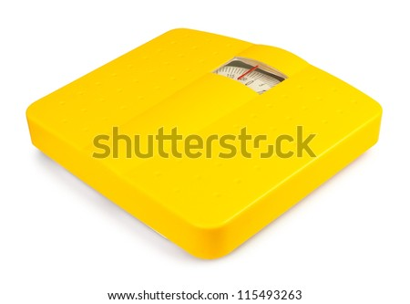 bathroom scale on white background - stock photo