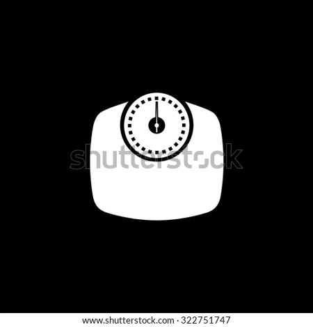 Bathroom scale. Simple icon. Black and white. Flat illustration - stock photo