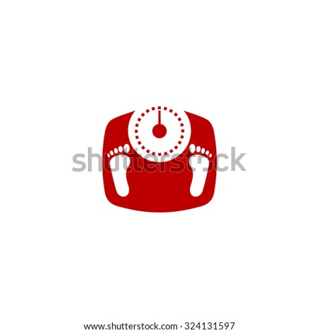 Bathroom scale with footprints. Red flat icon. Illustration symbol on white background - stock photo