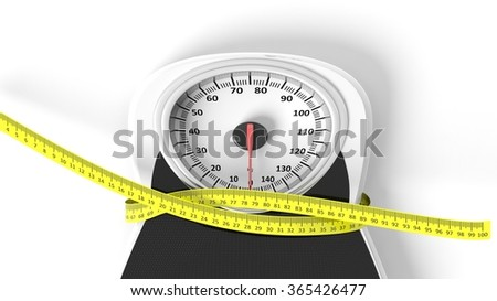 Bathroom scale with measuring tape squeezing it, isolated on white background. - stock photo