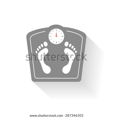 Bathroom scales icons set. Weight control signs with  footprint. Health symbol - stock photo