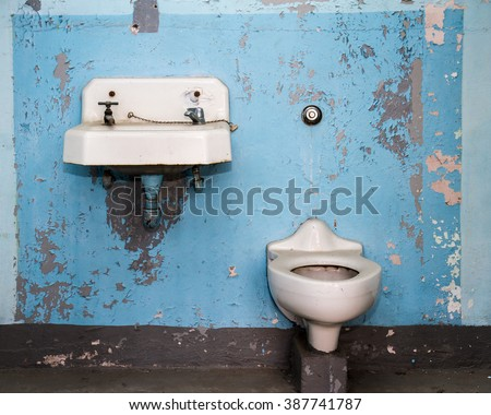 Bathroom that is in horrible shape and very dirty - stock photo