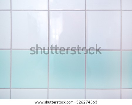 Bathroom tiles white and mint green closeup interior background - stock photo