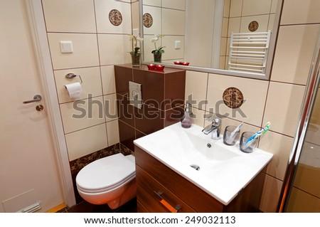 Bathroom toilet corner - stock photo
