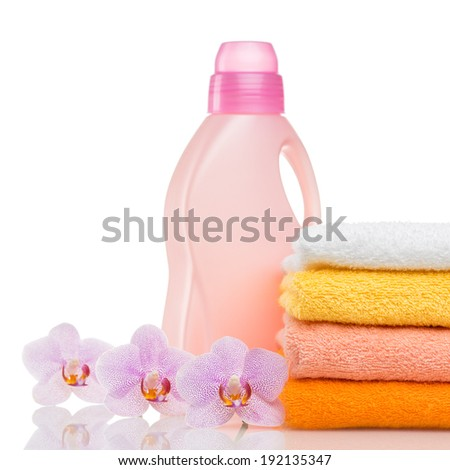 Bathroom towels and household goods on a white background - stock photo