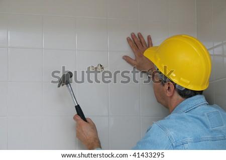 Bathroom Wall Demolition - stock photo