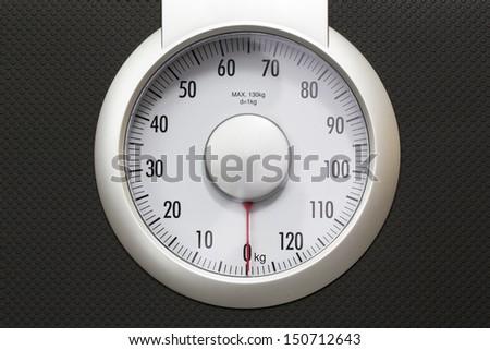 Bathroom weight scale - stock photo