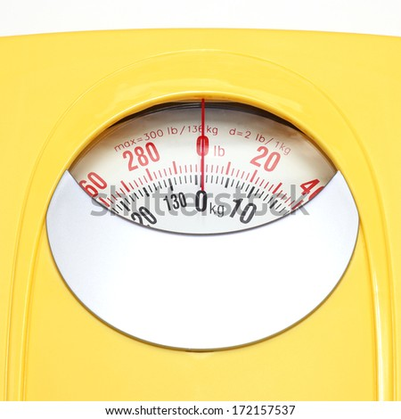 Bathroom Weight Scale on white - stock photo