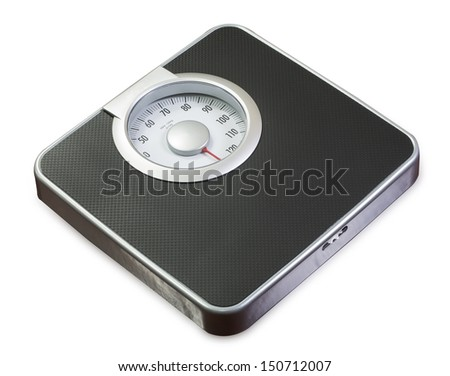 Bathroom weight scale on white background (with clipping path) - stock photo