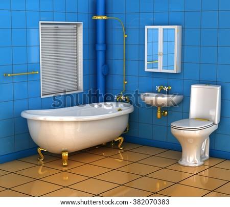 Bathroom with bath toilet and wash basin. 3d illustration - stock photo
