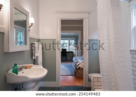Bathroom with shower and mirror - stock photo