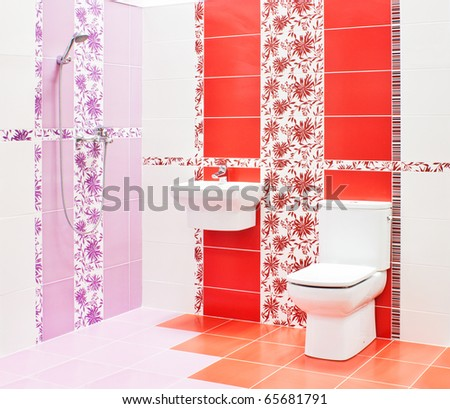 Bathroom with toilet and sink - stock photo