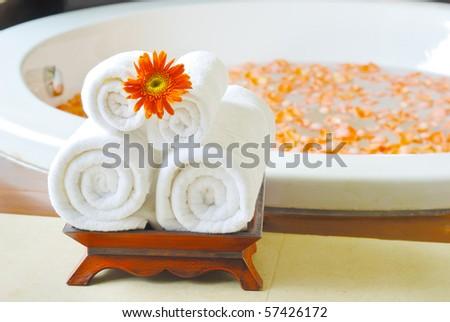 Bathtub in Spa room thailand - stock photo