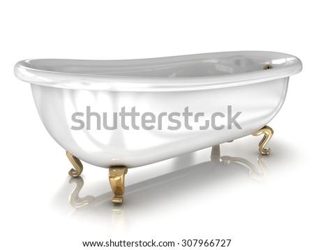 Bathtub isolated on white - stock photo