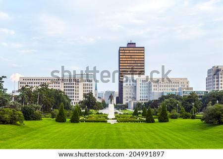 Baton Rouge, Louisiana - skyline with Huey Long Statue - stock photo