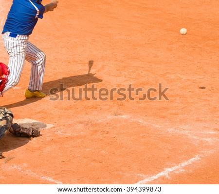 batter hit the ball - stock photo