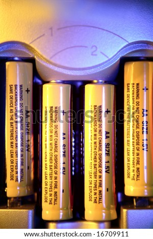 Batteries in compartment - stock photo