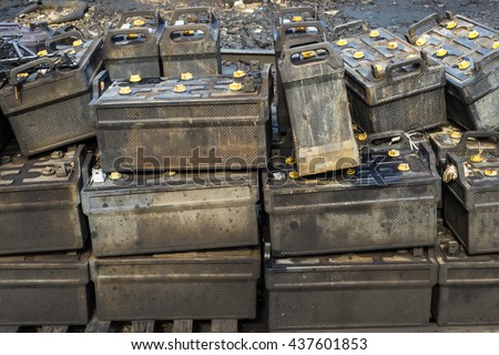 Batteries used waiting destruction - stock photo