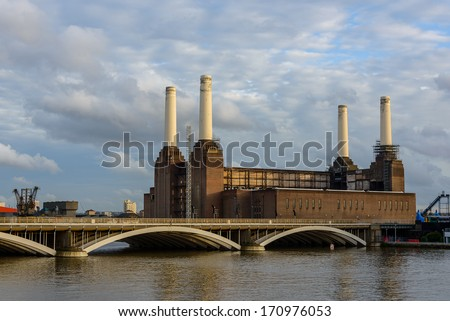 Battersea power station in London, UK - stock photo