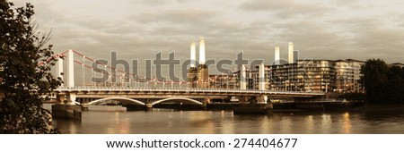 Battersea Power Station panorama over Thames river as the famous London landmark. - stock photo