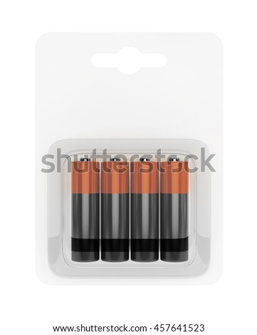 Battery AA Blister Packed on a white background. 3d Rendering - stock photo