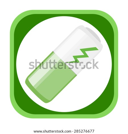 Battery green power icon - stock photo