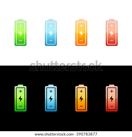 Battery Icon Glossy Glass Icons in Four Colors.  Raster Version - stock photo