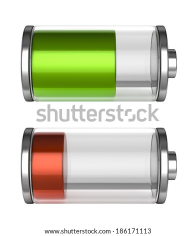 Battery icons with a high and low level of charge - stock photo