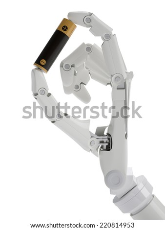Battery in robot hand isolated on white - stock photo